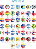 North, Central and South America - Flat Round Flags
