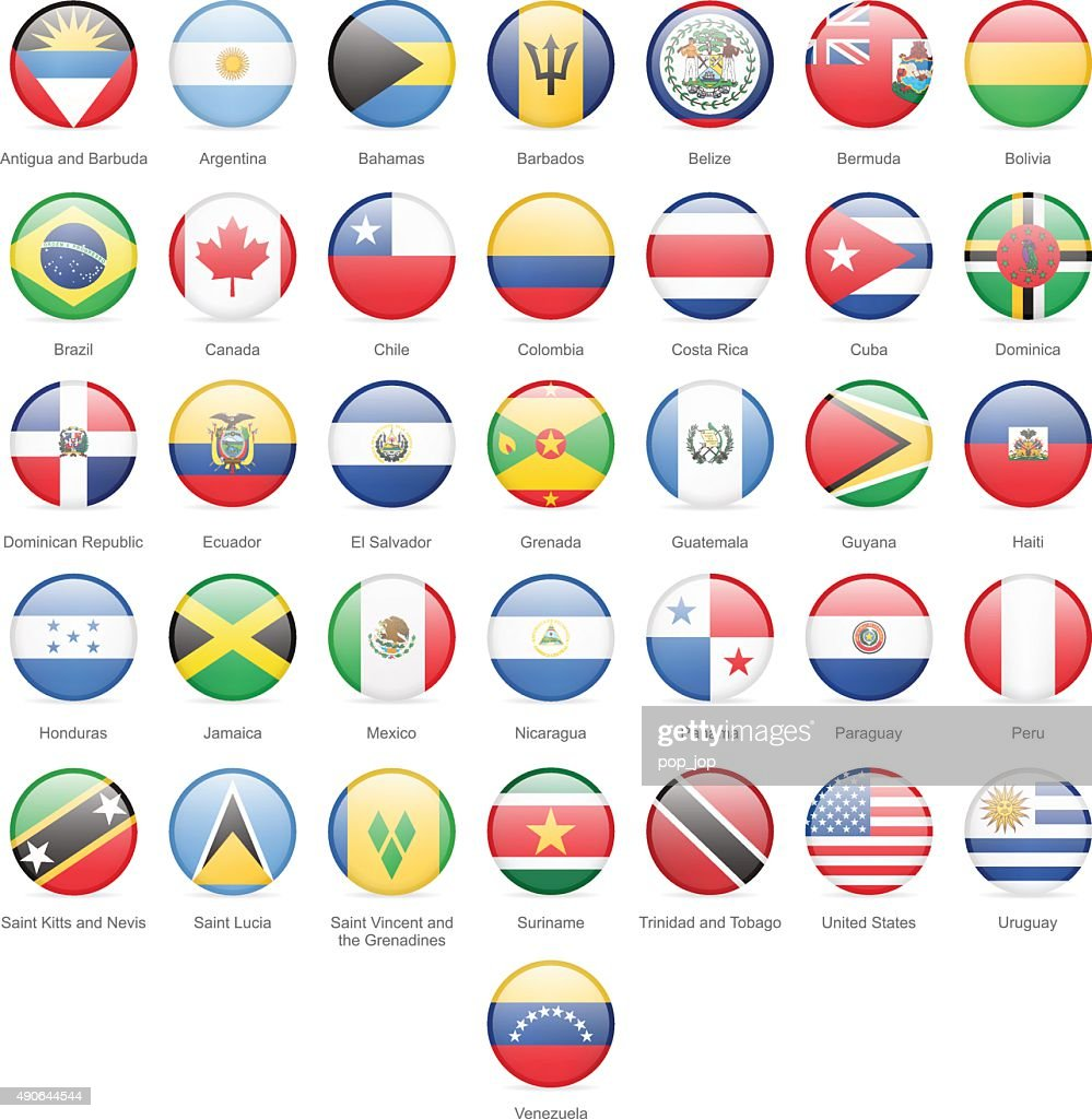 North, Central and South America - Round Flags - Illustration : stock illustration
