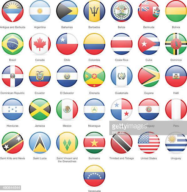 North, Central and South America - Round Flags - Illustration