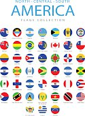 North, Central and South America - Rounded Flags - Illustration