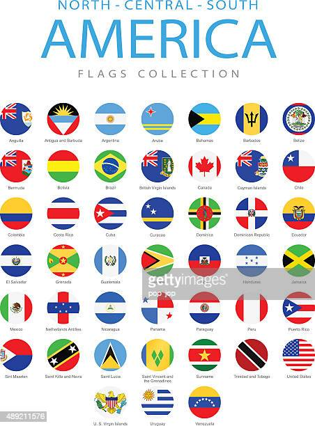 north, central and south america - rounded flags - illustration - latin america stock illustrations, clip art, cartoons, & icons