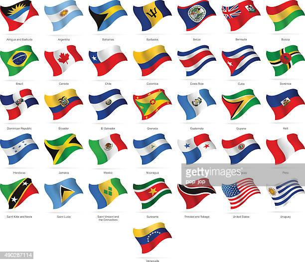 north, central and south america - waving flags - illustration - jamaican culture stock illustrations, clip art, cartoons, & icons