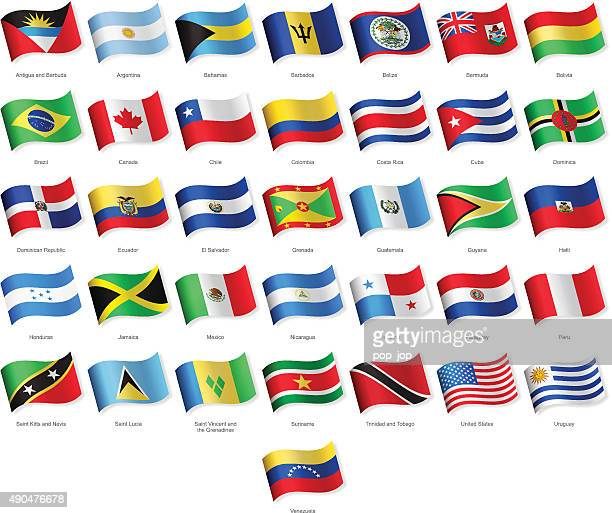 North, Central and South America - Waving Flags - Illustration