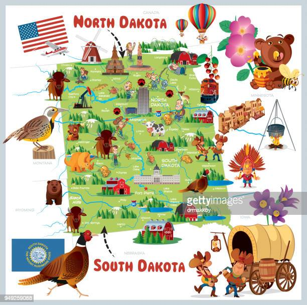 north dakota and south dakota - black hills stock illustrations