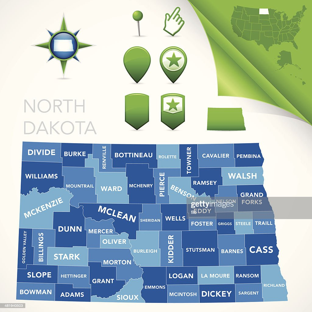 North Dakota County Map Vector Art | Getty Images