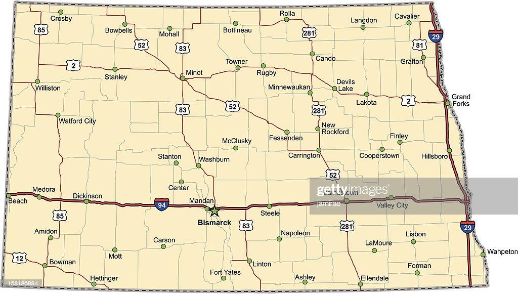 North Dakota Highway Map (vector)
