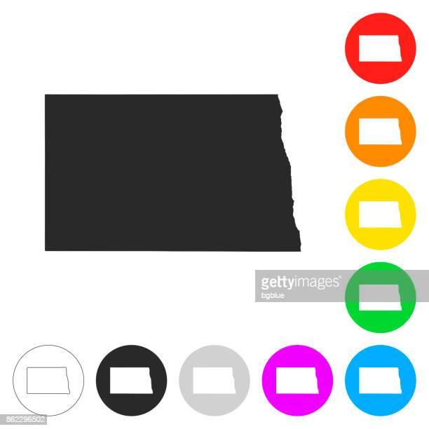 north dakota map - flat icons on different color buttons - north dakota stock illustrations