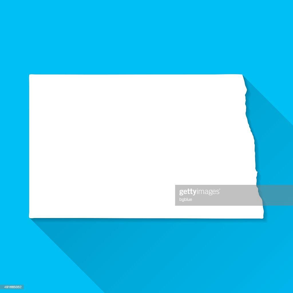 North Dakota Map on Blue Background, Long Shadow, Flat Design