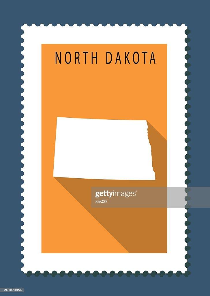 North Dakota Map on Orange Background, Long Shadow, Flat Design