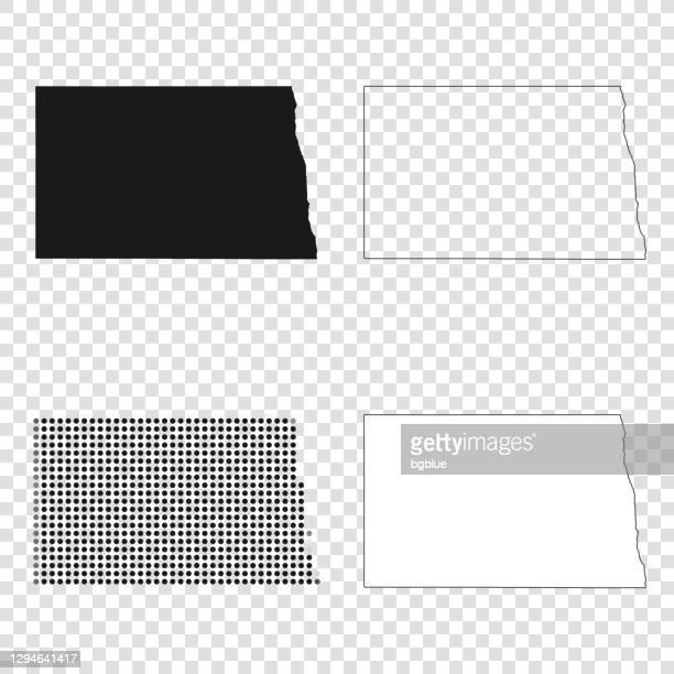 north dakota karten für design - schwarz, umriss, mosaik und weiß - bismarck north dakota stock-grafiken, -clipart, -cartoons und -symbole