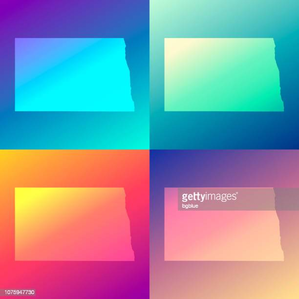 North Dakota maps with colorful gradients - Trendy background