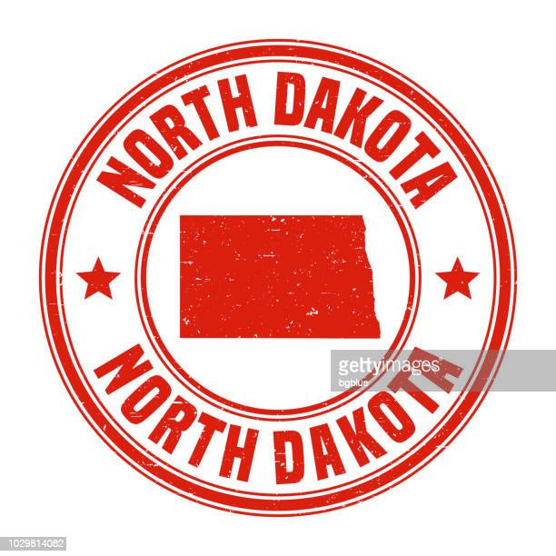 North Dakota - Red grunge rubber stamp with name and map