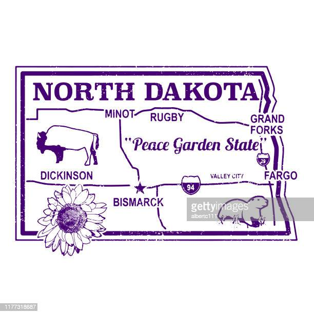 north dakota retro karte stempel - bismarck north dakota stock-grafiken, -clipart, -cartoons und -symbole