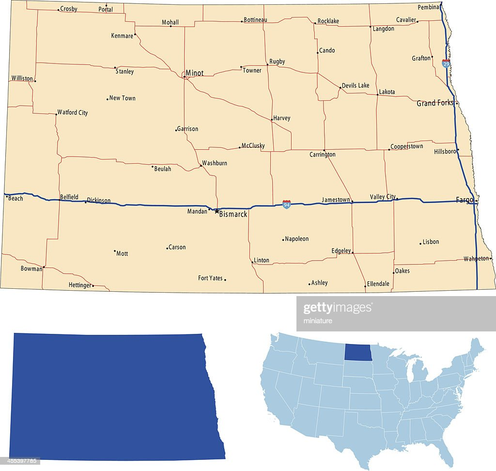 North Dakota road map