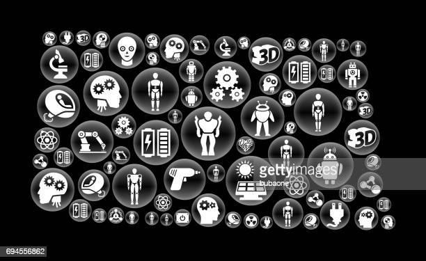 ノースダコタのロボットとロボット黒ベクトル ボタン パターン - ロボット手術点のイラスト素材/クリップアート素材/マンガ素材/アイコン素材