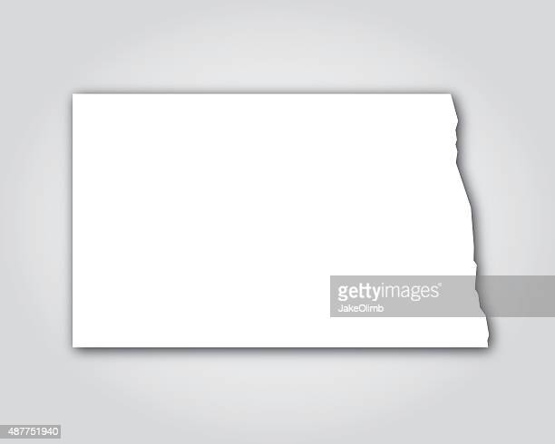 North Dakota Silhouette White
