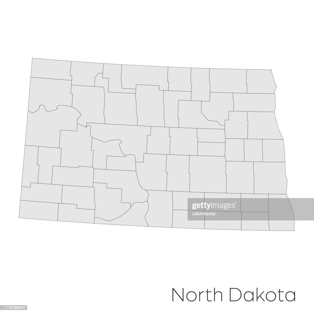 North Dakota State Counties Map stock vector - Getty Images