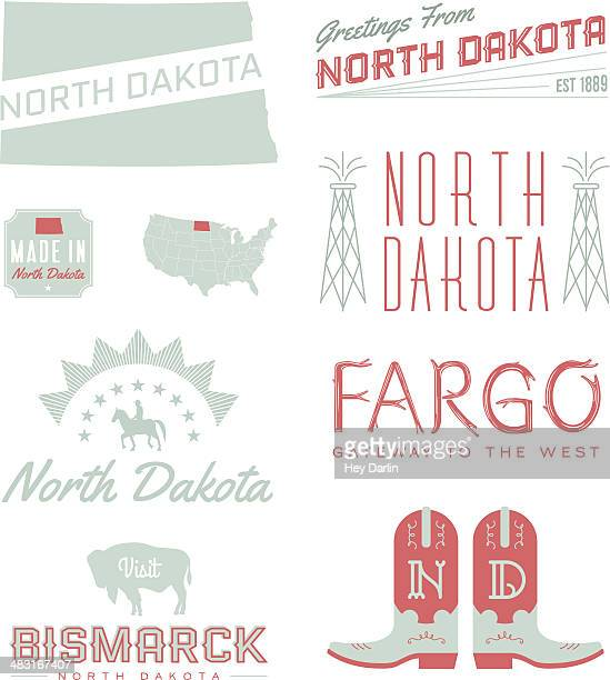 north dakota typografie - bismarck north dakota stock-grafiken, -clipart, -cartoons und -symbole