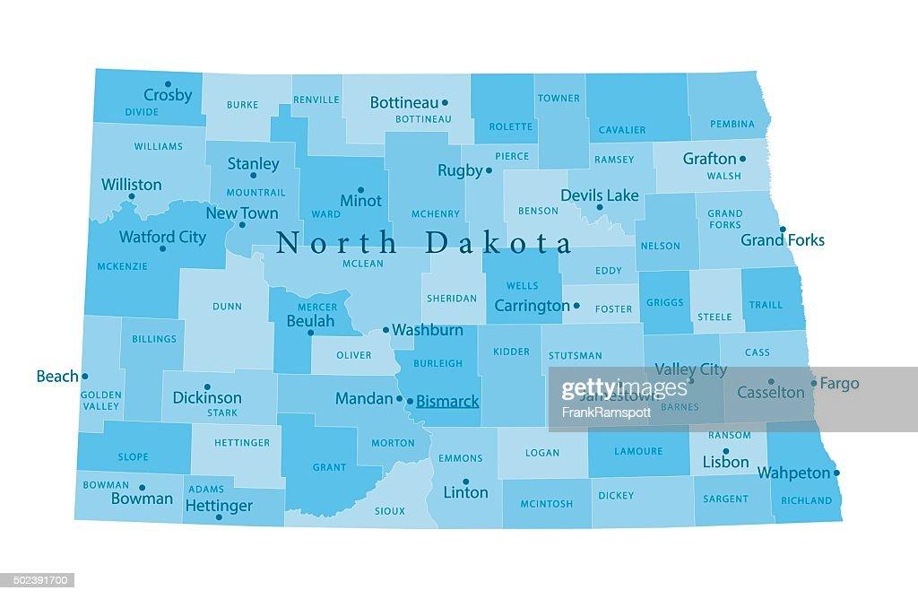 North Dakota Vector Map Isolated