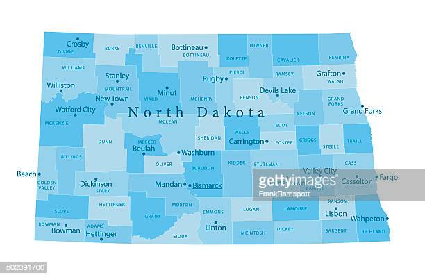 north dakota vektor-karte isoliert - bismarck north dakota stock-grafiken, -clipart, -cartoons und -symbole
