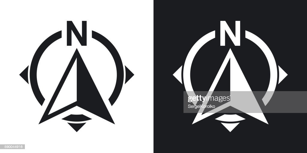 North direction compass icon, stock vector. Two-tone version