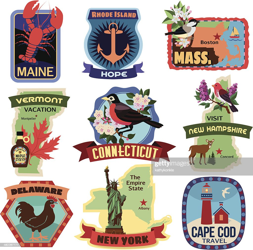 North East US states travel stickers : stock illustration