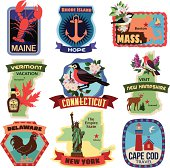 North East US states travel stickers