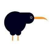 North island brown kiwi bird cartoon flat vector illustration.