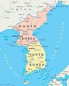 North Korea and South Korea Political Map