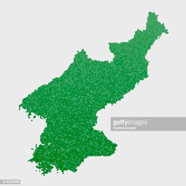 Nordkorea-Land-Map-grünen Sechseck-Muster