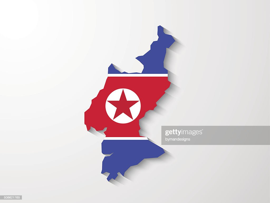 North Korea country map with shadow effect presentation