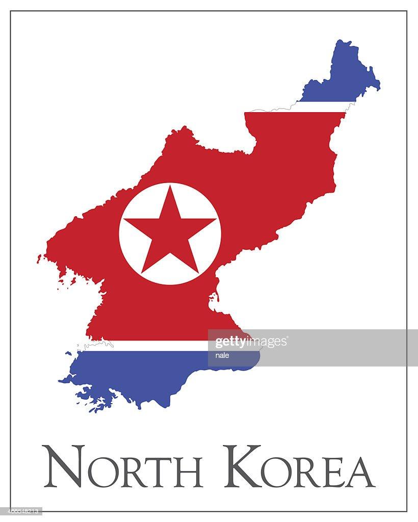 North Korea flag map