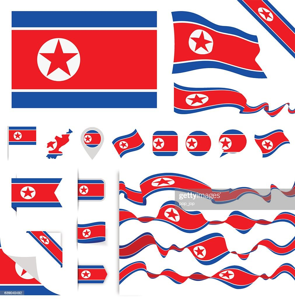 North Korea Flag Set
