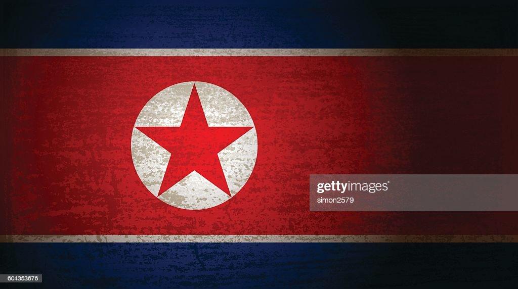 North Korea flag with grunge texture