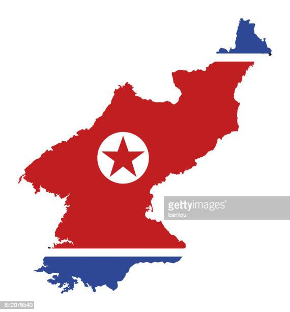 North Korea Map with Flag background