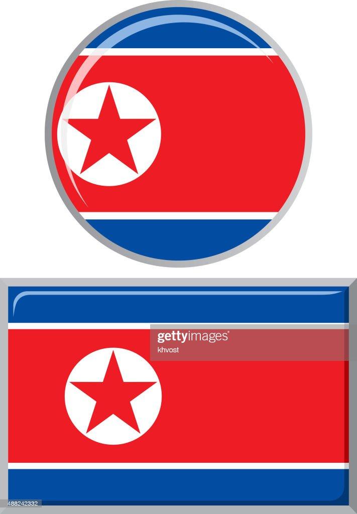 North Korea round and square icon flag. Vector illustration