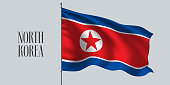 North Korea waving flag vector illustration