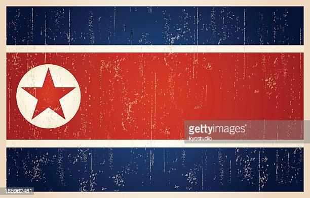 north korean grunge vintage flag - seoul stock illustrations, clip art, cartoons, & icons