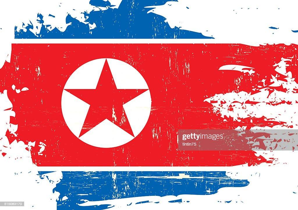 North Korean scratched Flag