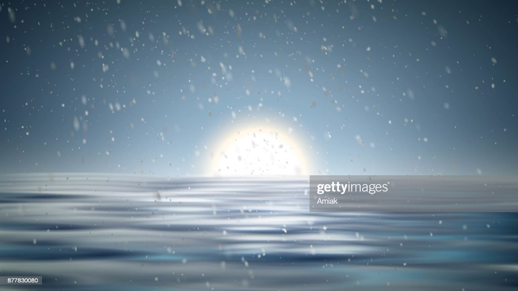 North pole christmas landscape with snow vector background. Winter xmas with snowfall. arctic frozen. Ice sea