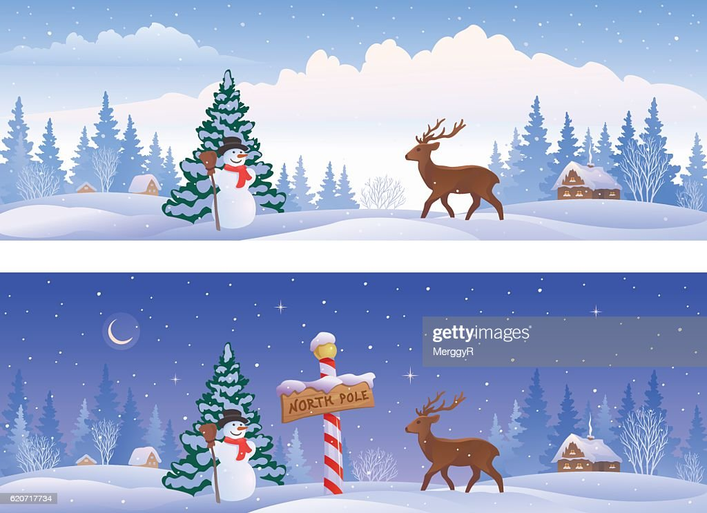 North pole landscape banners