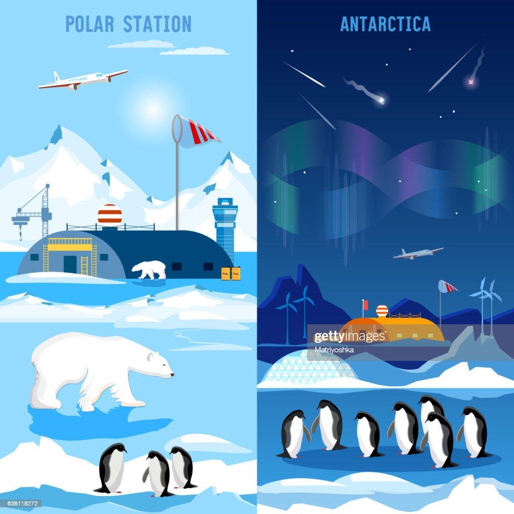 North Pole, polar station banners. Penguins, polar bears