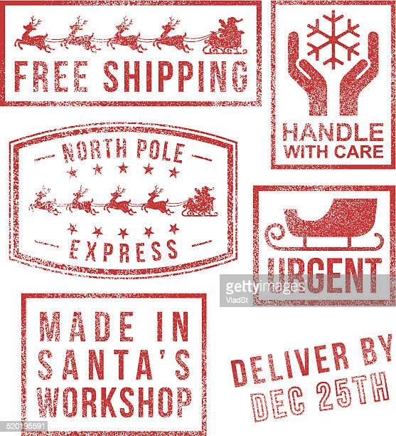 north pole - santa's christmas rubber stamps - north pole stock illustrations, clip art, cartoons, & icons