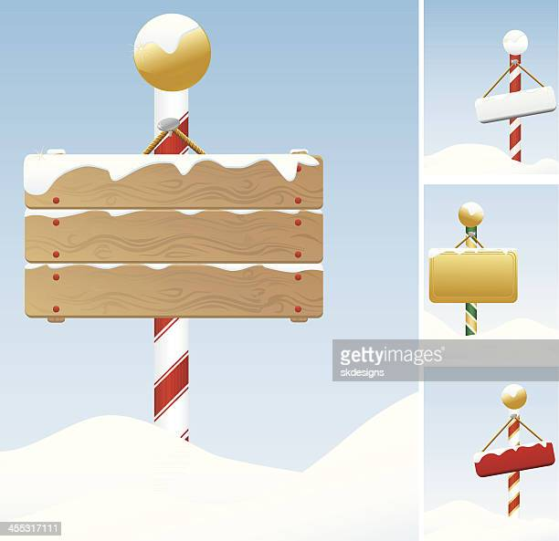 North Pole, Winter, Christmas Signs Covered in Snow; Set