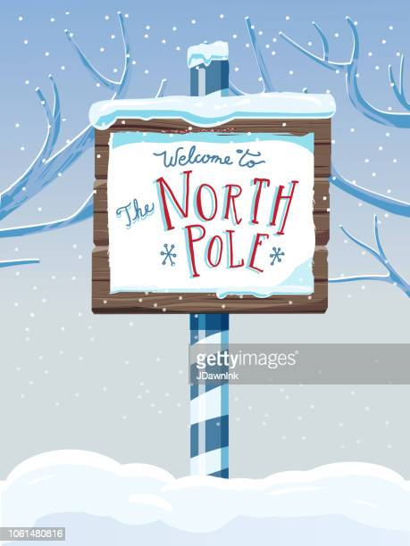North Pole wooden winter sign with handwriting or hand lettered text