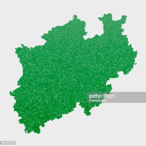 north rhine westfalia german state map green hexagon pattern - north rhine westphalia stock illustrations
