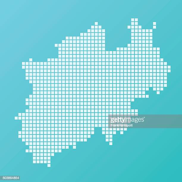 north rhine westfalia map basic square pattern turquoise - north rhine westphalia stock illustrations