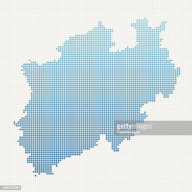 north rhine westfalia map blue dot pattern - north rhine westphalia stock illustrations