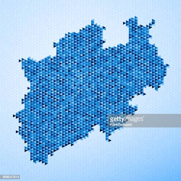 north rhine westfalia map triangle pattern blue - north rhine westphalia stock illustrations