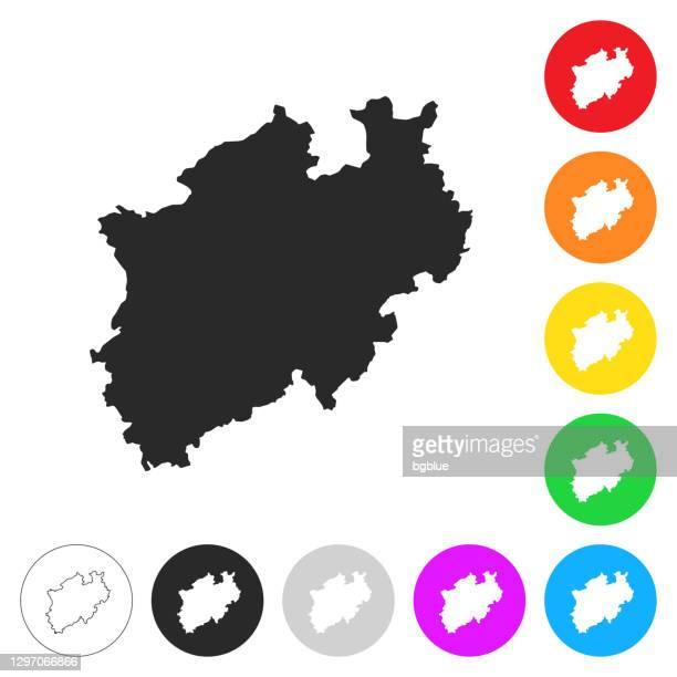 ilustrações, clipart, desenhos animados e ícones de mapa da renânia do norte-vestfália - ícones planos em diferentes botões de cor - north rhine westphalia